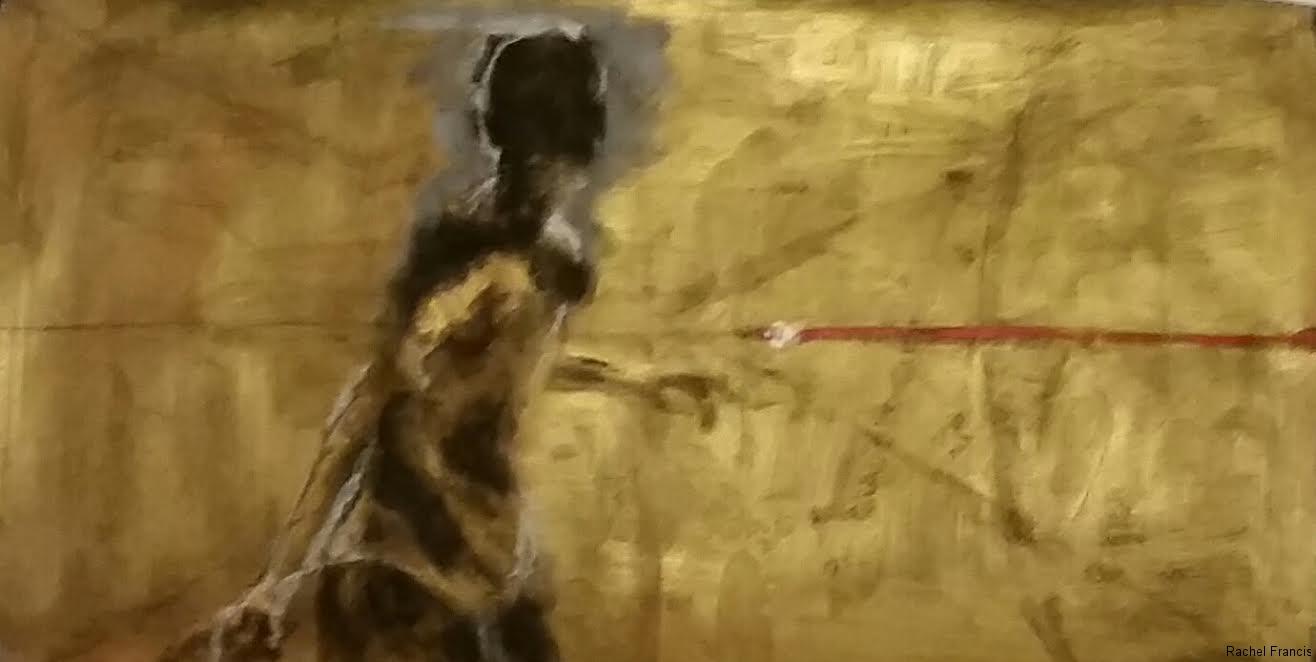 "Hallelujah Song Sketch #2, Acrylic & conte on Paper, 2014, 18\""x10\"""